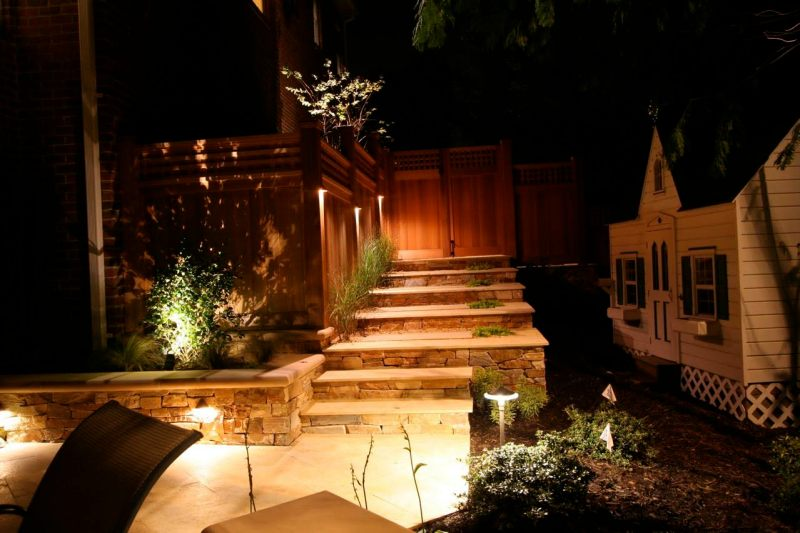 Blending LED uplighting and deck lighting to create spectacular shadowing.