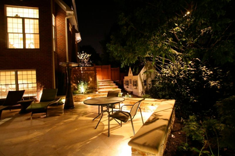 A wider view of patio lighting.